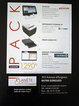 Flyer promotionnel Planète Caisse verso